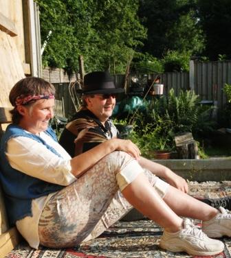 Steve, Lynn sit in sunshine