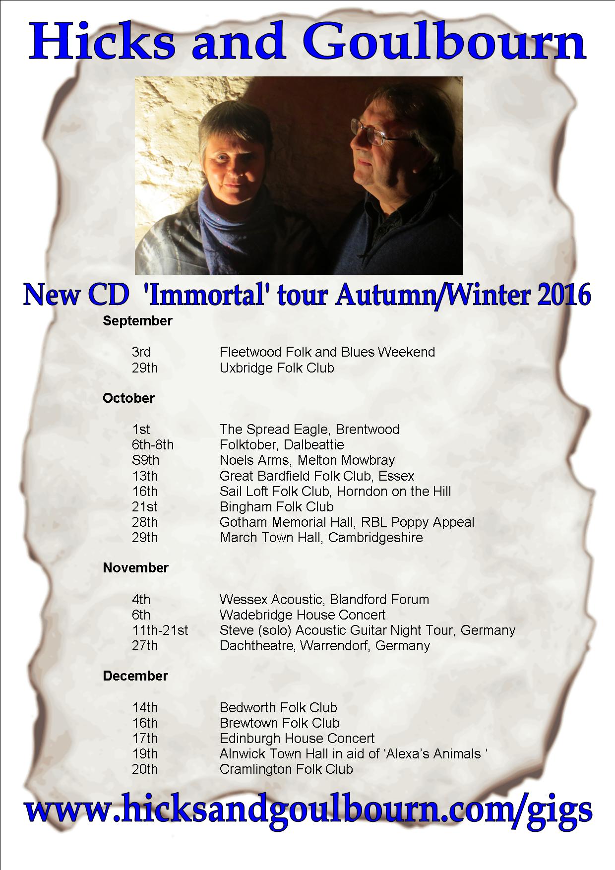 Immortal tour poster Autumn Winter 2016